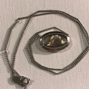 Silver Necklace with Opal Charm